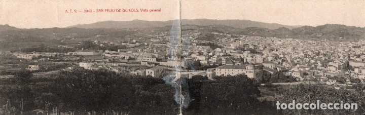 SAN FELIU DE GUIXOLS. ATV 3042 VISTA GENERAL. POSTAL DOBLE (Postales - España - Cataluña Antigua (hasta 1939))