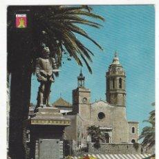 Postales: 3555- SITGES. PLAYA DE ORO.- MONUMENTO A EL GRECO E IGLESIA PARROQUIAL.. Lote 178858270