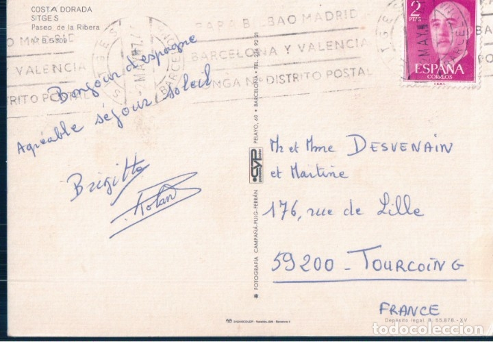 Postales: postal sitges - costa dorada - paseo de la ribera - campaña puig - circulada - Foto 2 - 178894592