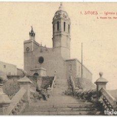 Postales: POSTAL SITGES IGLESIA Y BALUARTE . Lote 178950583