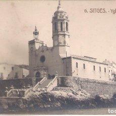 Postales: POSTAL SITGES - IGLESIA Y BALUARTE.. Lote 179317581
