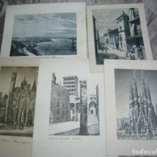 Postales: BARCELONA. LOTE 5 FELICITACIONES CON GRABADO DE LA CIUDAD. Lote 180104855