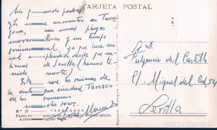 Postales: POSTAL TARRAGONA - PASEO ARQUEOLOGICO - RAYMOND - 29 - Foto 2 - 180323463