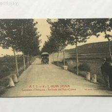 Postales: SANT HILARI SACALM - CARRETERA D'ARBUCIES - ARRIBADA DEL AUTO CORREO - A.T.V 4 XIMENO. . Lote 180437566