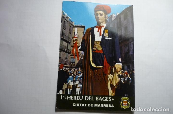 POSTAL MANRESA.-1974 NUEVO GIGANTE L´HEREU DEL BAGES -REGALO BANCO MERCANTIL DE MANRESA- CM (Postales - España - Cataluña Moderna (desde 1940))