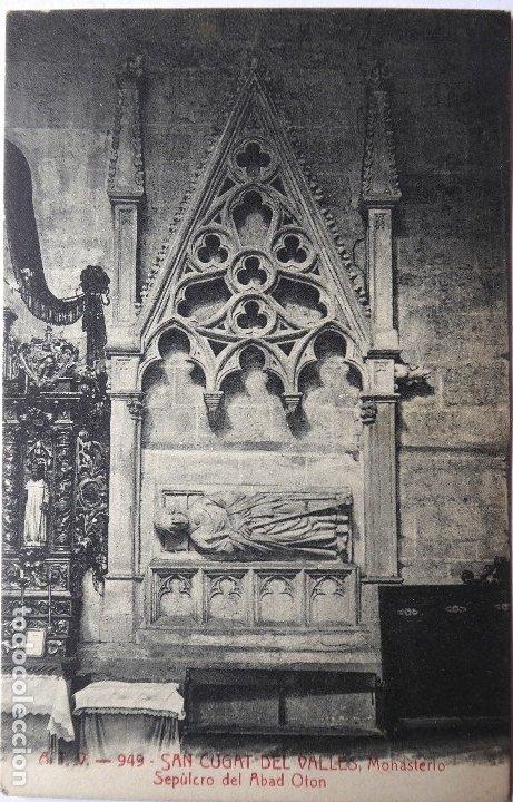 P-9563. SAN CUGAT DEL VALLÉS. MONASTERIO. SEPULCRO DEL ABAD OTÓN. A.T. V. 949. CIRCULADA. AÑO 1908 (Postales - España - Cataluña Antigua (hasta 1939))