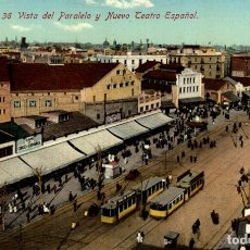 Postales: BARCELONA.36. VISTA PARALELO Y NUEVO TEATRO ESPAÑOL. Lote 182439952
