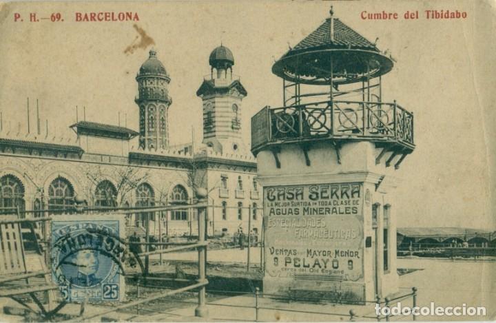 BARCELONA CUMBRE DEL TIBIDABO. PUBLICIDAD. ED. MADRIGUERA, HACIA 1910. MUY RARA. (Postales - España - Cataluña Antigua (hasta 1939))