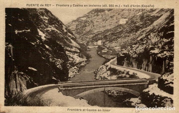PUENTE DE REY. FRONTERA Y CASINO EN INVIERNO (Postales - España - Cataluña Antigua (hasta 1939))