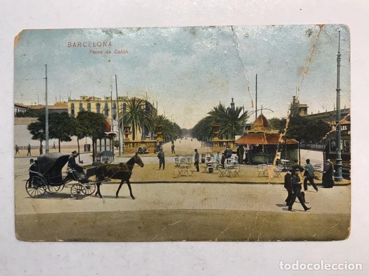 BARCELONA. POSTAL ANIMADA COLOREADA. PASEO DE COLON. EDITA: DR. TRENKLER (H.1920?) (Postales - España - Cataluña Antigua (hasta 1939))