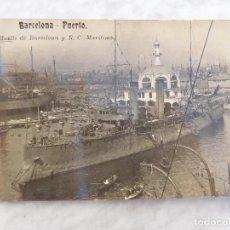 Postales: POSTAL DE BARCELONA. MUELLE Y R.C. MARITIMO BARCO DE GUERRA SIN CIRCULAR. Lote 184633287