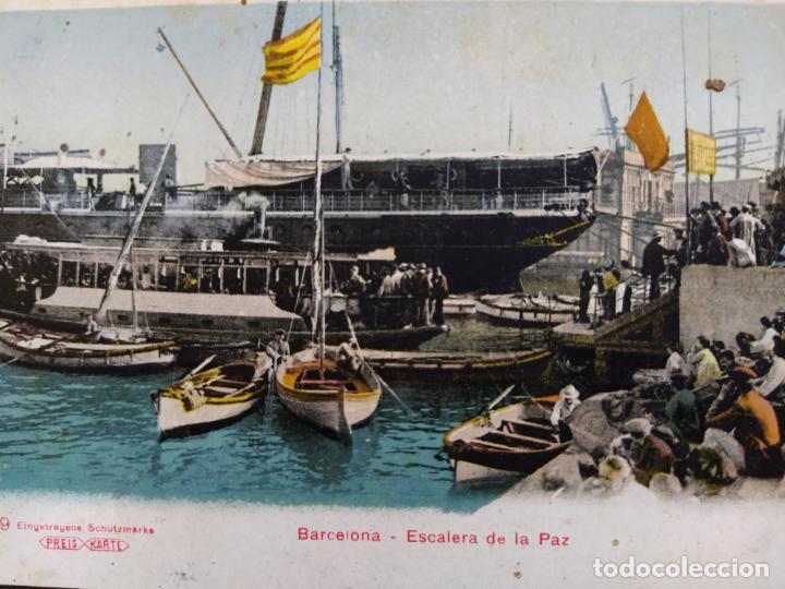 Postales: BARCELONA-ESCALERA DE LA PAZ-REVERSO SIN DIVIDIR-POSTAL ANTIGUA-(65.191) - Foto 2 - 185738772