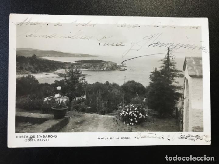 ANTIGUA POSTAL GERONA GIRONA COSTA BRAVA COSTA DE S'AGARO PLATJA DE LA CONCA ZERKOWITZ CIRCULADA (Postales - España - Cataluña Antigua (hasta 1939))