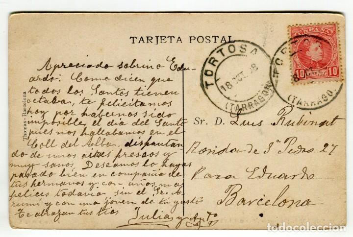 Postales: TORTOSA (ROQUETAS) CANAL DEL EBRO FOTO R. BORRELL ESCRITA Y CIRCULADA EN 1908 VER REVERSO - Foto 2 - 190871955