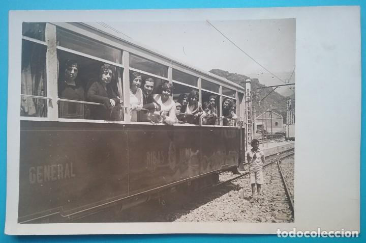 TREN RIBAS NURIA POSTAL FOTOGRÁFICA FERROCARRIL VAGÓN CIRCA 1920 (Postales - España - Cataluña Antigua (hasta 1939))