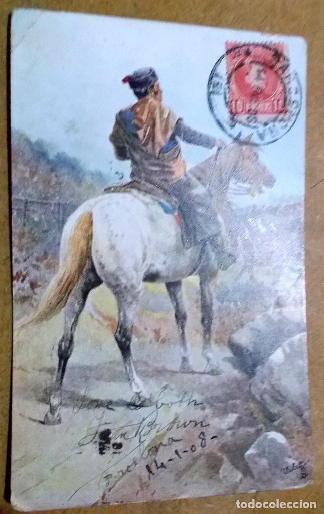 POSTAL RARA DE 1908 CIRCULADA A PARIS CREO QUE DE UN GAUCHO (Postales - España - Cataluña Antigua (hasta 1939))