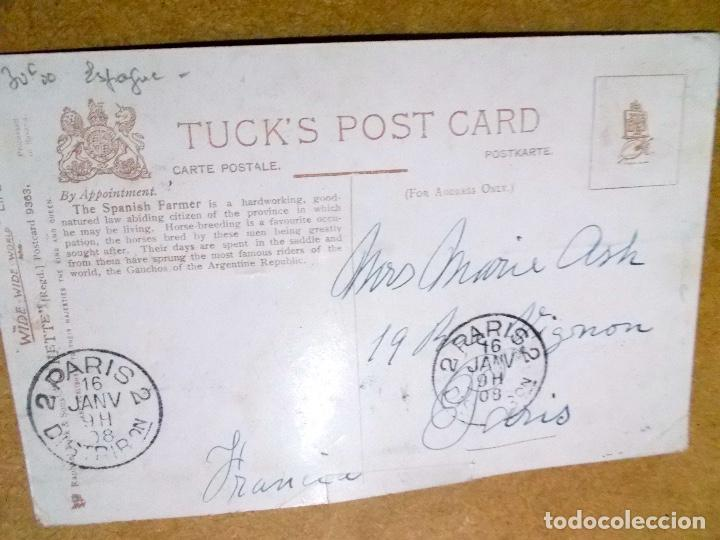 Postales: Postal rara de 1908 circulada a Paris creo que de un Gaucho - Foto 2 - 191173416