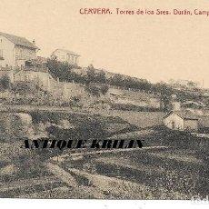 Postales: CERVERA .- TORRES DE LOS SRES. DURAN , CAMPS Y BORRUIX .- FOTOTIPIA THOMAS / LIBRERIA BATALLA . Lote 192637705