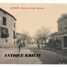 Postales: CERVERA .- RAMBLA DE ANGEL GUIMERA .- FOTOTIPIA THOMAS / LIBRERIA BATALLA .- PUBLICIDAD AL DORSO. Lote 192638457