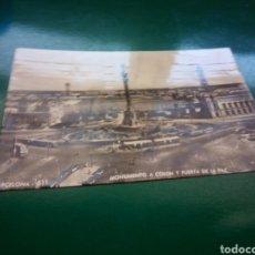 Postales: ANTIGUA POSTAL DE BARCELONA. MONUMENTO A COLÓN Y PUERTA DE LA PAZ. 1957. Lote 194197790