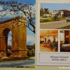 Postales: TRÍPTICO PUBLICITARIO DE TARRAGONA + ALBERGUE NACIONAL BENICARLÓ. AÑO 1974. PUBLICIDAD MEDICINA. Lote 194743842