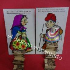 Postales: DOS POSTALES ILUSTRADAS PERSONAJES TÍPICOS CATALANES. CON DESPLEGABLES DE BARCELONA. MP MADRID. Lote 194927921