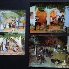 Postales: 3 POSTALES DEL PESSEBRE VIVENT DE LA POBLA DE MONTORNES (TARRAGONA), POSTALES SIN CIRCULAR . Lote 195135806