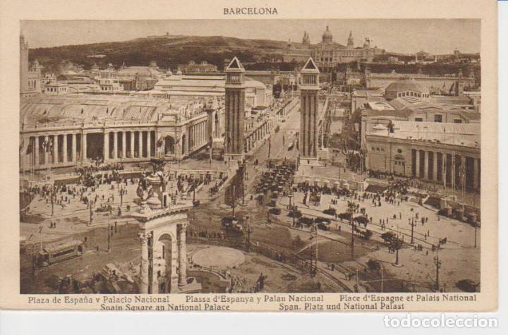 BARCELONA. PLAZA DE ESPAÑA Y PALACIO NACIONAL (Postales - España - Cataluña Antigua (hasta 1939))