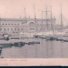 Postales: POSTAL BARCELONA - PUERTO Y ADUANA - SAMSOT Y MISSE HNOS BARNA - CIRCULADA SELLO ALFONSO XIII. Lote 195496195