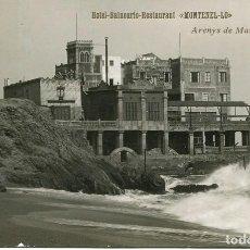 Postales: ARENYS DE MAR-MONTENEL-LO-HOTEL BALNEARIO RESTAURANTE-FOTOGRÁFICA AÑO 1909-TREN- DUARTE- MUY RARA. Lote 196239695