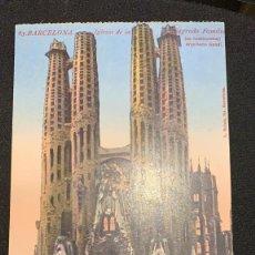 Postales: POSTAL COLOREADA BARCELONA IGLESIA SAGRADA FAMILIA EN CONSTRUCCIÓN GAUDÍ ARQUITECTO S XX. Lote 197405745