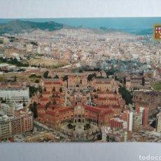 Postales: POSTAL 584 BARCELONA HOSPITAL DE LA SANTA CREU I DE SANTA PAU VISTA AÉREA ESCUDO DE ORO. Lote 198166596
