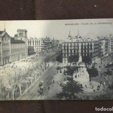 Postales: TARJETA POSTAL BARCELONA PLAZA DE LA UNIVERSIDAD BARÇA NUMERACIÓN TRANVÍAS DORSO. Lote 199504158