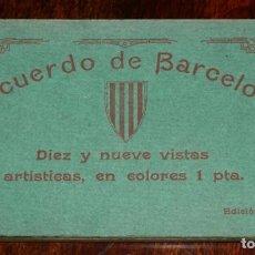 Postales: CUADERNILLO DE 19 POSTALES DE RECUERDO DE BARCELONA, EDICION E.P.G.. Lote 200264582