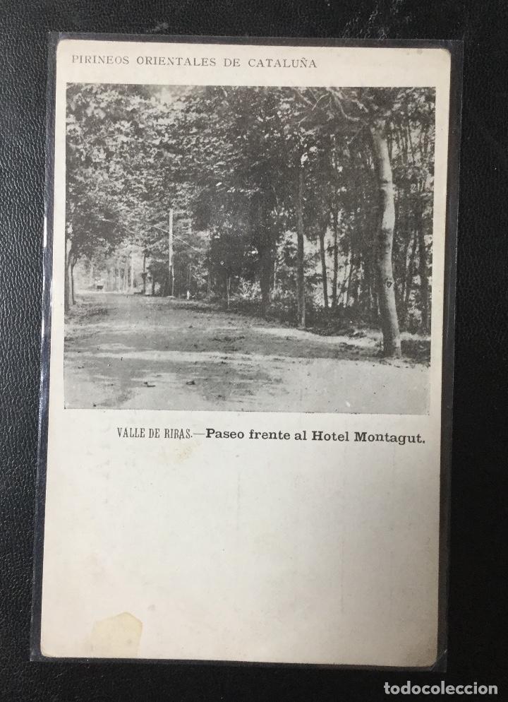 RIBAS , CATALUÑA , PIRINEOS ORIENTALES , PASEO FRENTE AL HOTEL MONTAGUT , PUBLICITARIA (Postales - España - Cataluña Antigua (hasta 1939))
