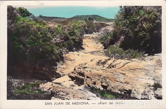 BARCELONA SAN JUAN DE MEDIONA FONT DEL MOLI. POSTAL FOTOGRAFICA EN BYN COLOREADA. ESCRITA (Postales - España - Cataluña Antigua (hasta 1939))
