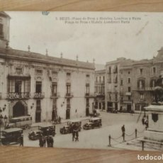 Postales: POSTAL 3 REUS PLAZA DE PRIM Y HOTELES LONDRES Y PARIS. 1931 MAGATZEMS LA FLECA. ORIGINAL. Lote 205550778