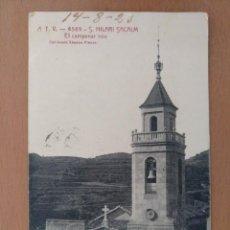 Postales: POSTAL A T V . 4569. S. HILARI SACALM - EL CAMPANAR COLECCION XIMENO PLANAS CIRCULADA 1923. Lote 205555217