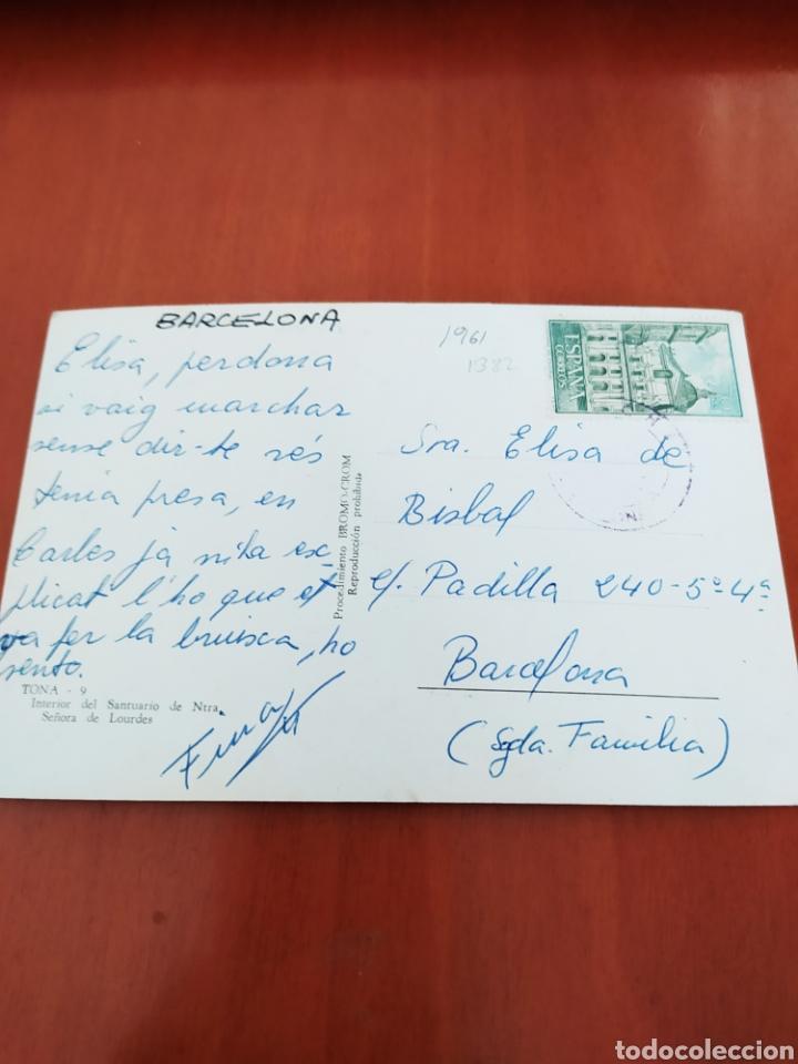 Postales: Postal antigua de Tona interior del santuario de nuestra señora de Lourdes - Foto 2 - 206818811