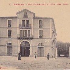 Postales: GIRONA PUIGCERDA PLAZA BARCELONA Y AVENIDA PONS Y GASCH. ED. F. CAMPISTRO Nº 7. SIN CIRCULAR. Lote 207334031