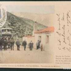 Postales: PARADA DE LA MOLINA. COCHE CORREV DE RIBOS A PUIGCERDA, Nº 25. VENANCIO PONS, PUIGCERDA. ESCRITA. Lote 207343940