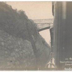 Postales: TREN - FERROCARRIL LINEA BARCELONA ZARAGOZA 1909 DOS POSTALES FOTOGRAFICAS. Lote 210483285