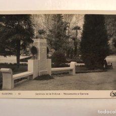 Postales: GERONA POSTAL NO.14, JARDINES DE LA DEHESA. MONUMENTOS GARRETA, (H.1940?) S/C. Lote 211438616