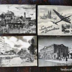 Postales: 5 POSTALES DE BARCELONA AÑO 1952 - TIBIDABO, S. FAMILIA P. CATALUYA, P. PALACIO, CALVO SOTELO, P. GR. Lote 212011735
