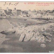 Postales: ANTIGUA POSTAL. VISTA PLAYA DE SAN SEBASTIÁN, SITGES, BARCELONA ESCRITA 1919 L ROISIN PT. Lote 214876713