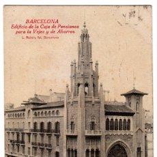 Postales: ESCASA POSTAL EDIFICIO CAJA PENSIONES PARA LA VEJEZ Y AHORROS, BARCELONA ROISIN CIRCULADA 20S PT. Lote 214932047