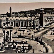 Postales: BARCELONA - PLAZA DE ESPAÑA, PARQUE DE MONTJUICH Y AVDA. MARQUES DEL DUERO - TALLERES A. ZERKOWITZ. Lote 217334050