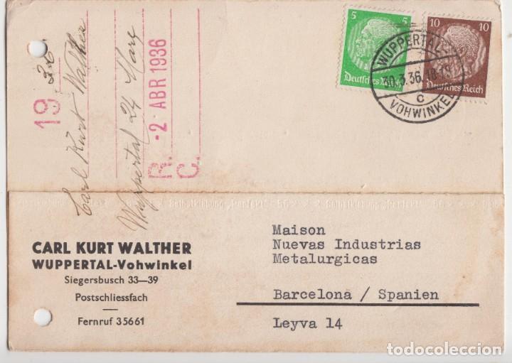 ENTERO POSTAL CIRCULADO BARCELONA - ALEMANIA 1936 (Postales - España - Cataluña Antigua (hasta 1939))