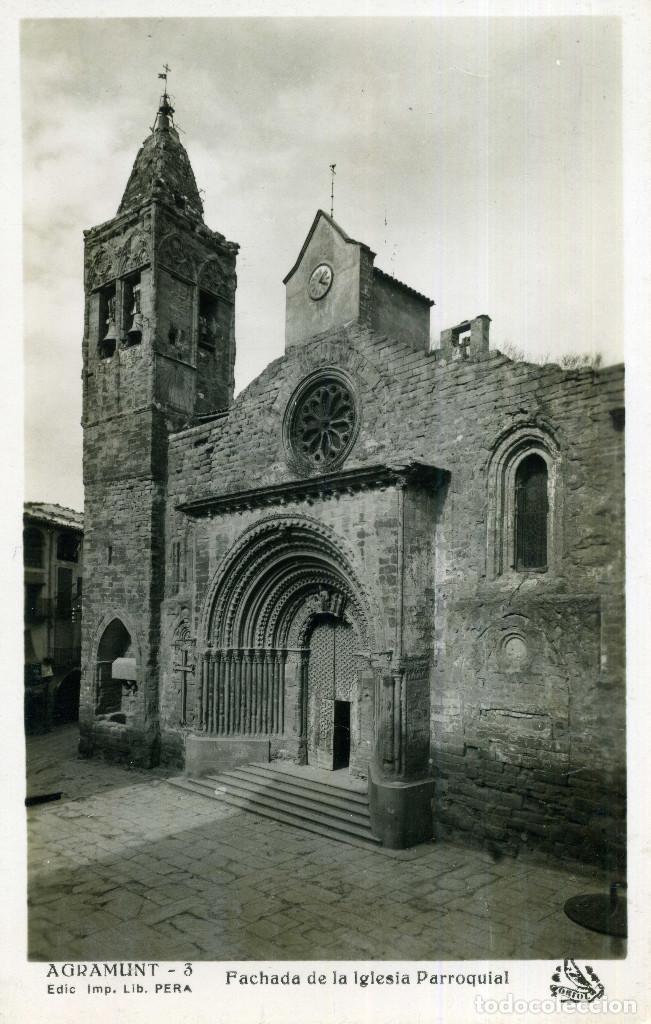 AGRAMUNT - FACHADA DE LA IGLESIA PARROQUIAL (Postales - España - Cataluña Antigua (hasta 1939))