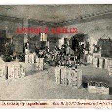 Postales: GUARDIOLA DE FONTRUBI Nº 13 CASA BAQUES , SALA EMBALAJE Y EXPEDICIONES .- VER DORSO. Lote 218438142